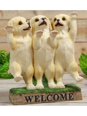 Wholesale Three Labrador Puppies Welcome Stand Ornament