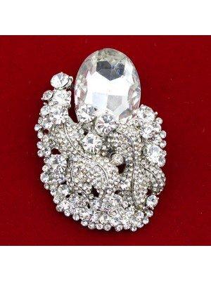 Wholesale Silver Tone Big Crystal Diamante Brooch