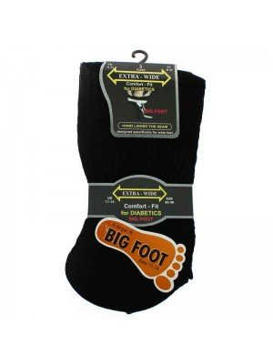 Mens Extra Wide Big Foot Socks Black 11-14