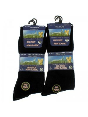Big Foot Ribbed Non Elastic Light Hold Socks- Black