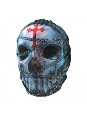 Biker Mask - Chained Skull & Red Crucifix Design