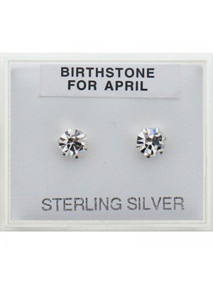 Birthstone Studs Earrings- April 5mm