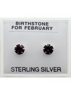 Birthstone Studs Earrings- February 5mm