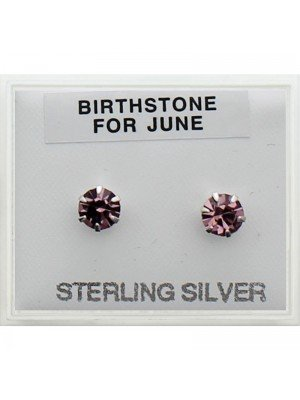 Birthstone Studs Earrings- June 5 mm