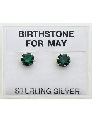 Birthstones Studs Earrings- May 5mm