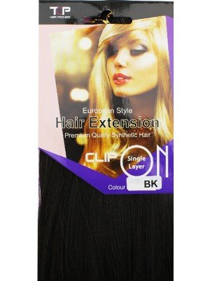 """""""Top"""" European Style Clip-in Hair Extensions 18'' - Black"""