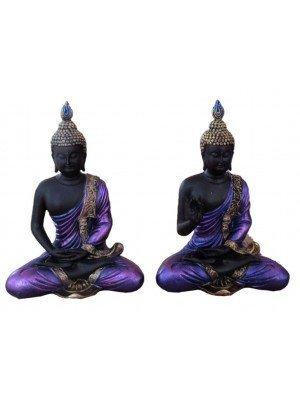 Black & Gold Thai Buddha Lotus Figurine