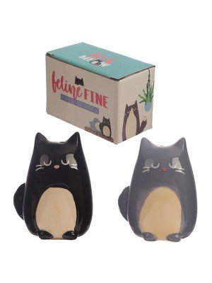 Wholesale Black & Grey Feline Cat Ceramic Salt and Pepper Set