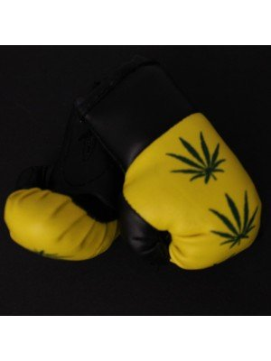 Mini Boxing Gloves - Leaf on Yellow