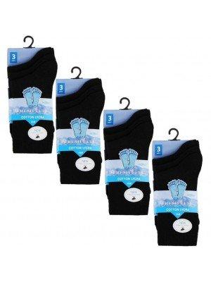 Wholesale Black Ankle High School Socks - Fresh Feel (UK - 12-3)