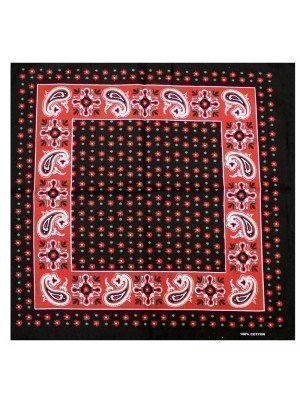 Black Bandana with Red Paisley Vintage print and Red & Green Stars