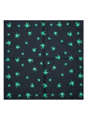 Black Cannabis Leaf Print Bandana