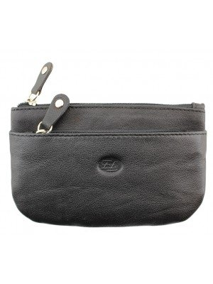 Wholesale Florentino Genuine Leather Purse With 2 Zipped Slots - Black