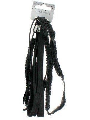 Wholesale Black Elastic Headbands - Assorted Designs