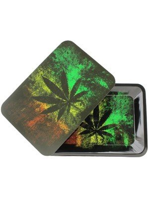 Wholesale Black leaf Metal Rolling Tray With Magnetic Lid - Mini (18 x 12.5 cm)