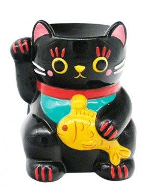 Black Maneki Neko Lucky Cat Ceramic Oil Burner