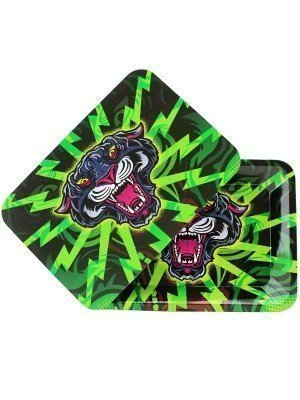 Wholesale Black Panther Metal Rolling Tray With Magnetic Lid - Mini (18 x 12.5 cm)