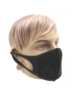 Wholesale Reusable Stretchable Thermal Face Mask With Valve-Black