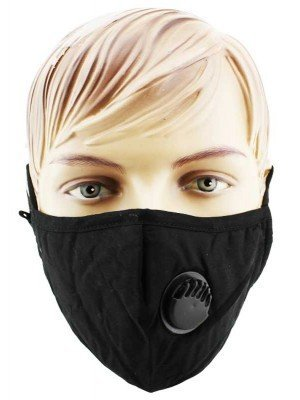 Wholesale Reusable Double Layered Cotton Mask With Valve- Black