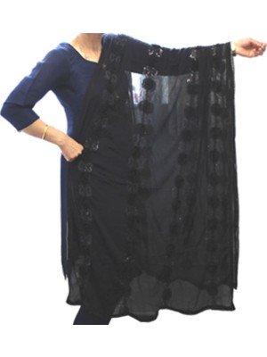 Wholesale Ladies Rose Design Nazneen Dupatta - Black