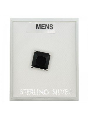 Black Square Sterling silver Studs 7 mm