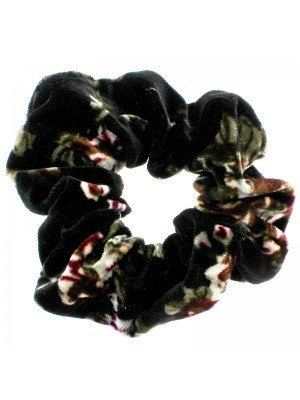 Black Velvet Scrunchies with Floral Design