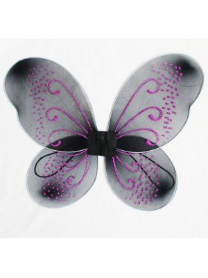 Black Fairy Wings With Pink Glitter Design