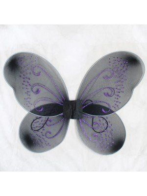 Black Fairy Wings With Purple Glitter Design