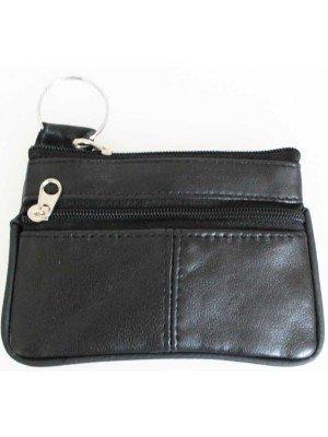 Wholesale Leather Coin Purse- Black(12cm x 8cm)