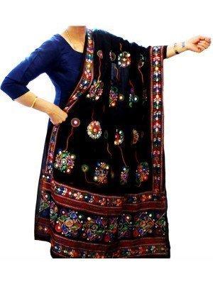 Wholesale Ladies Pure Cotton Aari Embroidery & Foil Mirrors Dupatta - Black