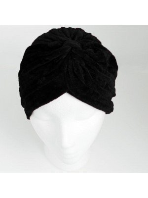 Wholesale Velvet Turban Hat - Black