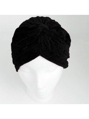 Wholesale Velvet Turban Hat - Black