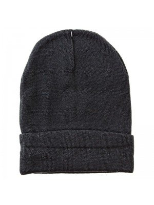 Wool Knitted Thermal Beanie Hat - Black
