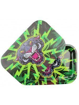 Wholesale Black Panther Metal Rolling Tray With Magnetic Lid - (28.8 x 18.8 cm)