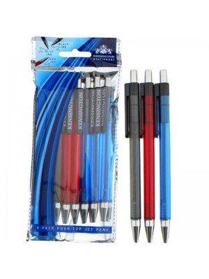Wholesale 8 Pcs Push & Pop Jet Pens - Assorted Colours