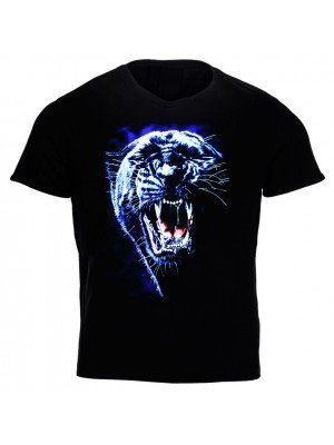 Black T-shirt With White Tiger Print