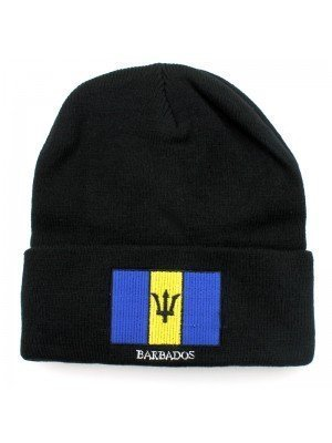 Black Turn up Beanie Hat - Barbados Flag Embroidery