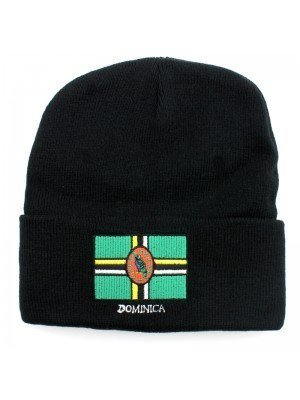 Black Turn up Beanie Hat - Dominica Flag Embroidery