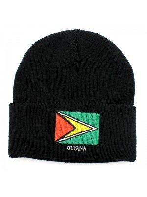 Black Turn Up Beanie Hat - Guyana Flag Embroidery