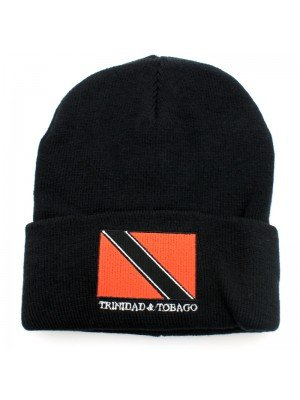 Black Turn up Beanie Hat - Trinidad & Tobago Flag Embroidery