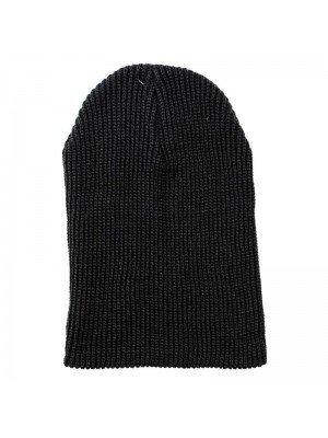 Fine Knitted Turn Up Wool Beanie Hat - Black