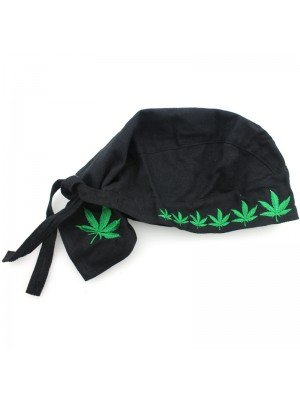 Black Zandana With Ganja Leaf Design