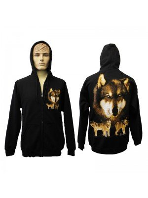 Black Zipped Hoodie with Wolf Print