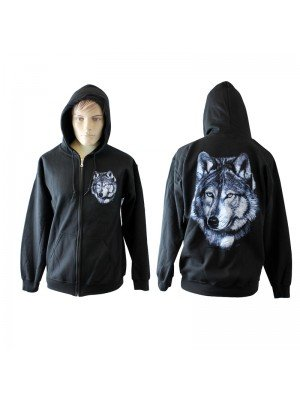 Wholesale Black Zipped Wolf Print Hoodie