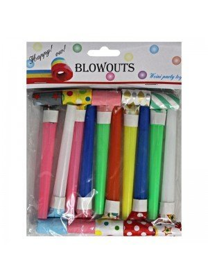 Wholesale Blowouts in Assorted Colours (Pack of 10) - 11x3cm
