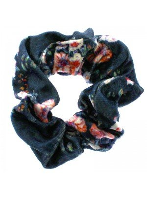 Blue Velvet Scrunchies with Floral Design