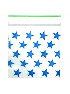 Wholesale Zipper Grip Seal Printed Baggies - Blue Star (40x40mm)
