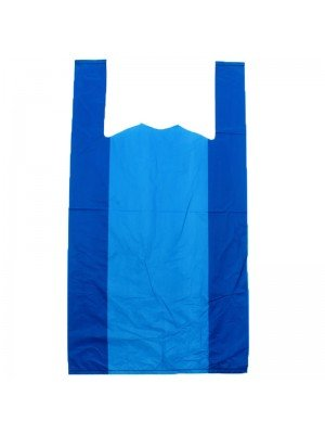 Blue Plastic HD Vest Carrier Bag(11 x 17 x 21'')