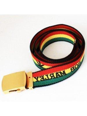 Men's Canvas Belt - Rasta Man (Gold Buckle)