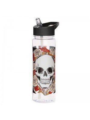 Wholesale Reusable Plastic Water Bottle - Union Jack Skulls and Roses (550ml)